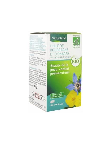 Huiles de Bourrache /Onagre 200 capsules Naturland acides gras essentiels Herboristerie de paris