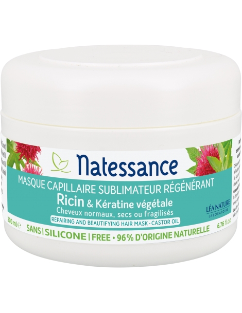Masque Capillaire Ricin et Kératine végétale 200ml Natessance