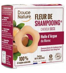 Fleur de Shampooing solide cheveux secs Argan Argile rouge 85g Douce Nature