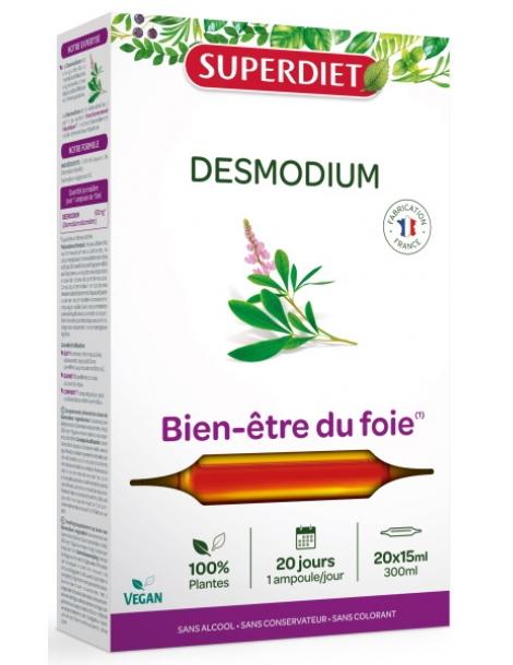 Desmodium bio 20 ampoules de 15ml Super Diet foie digestion Herboristerie de paris