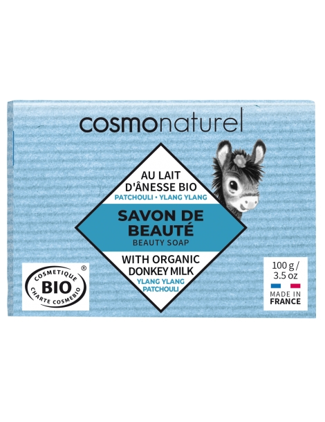 Savon au lait d'ânesse et HE Patchouli Ylang Ylang 100g Cosmo Naturel