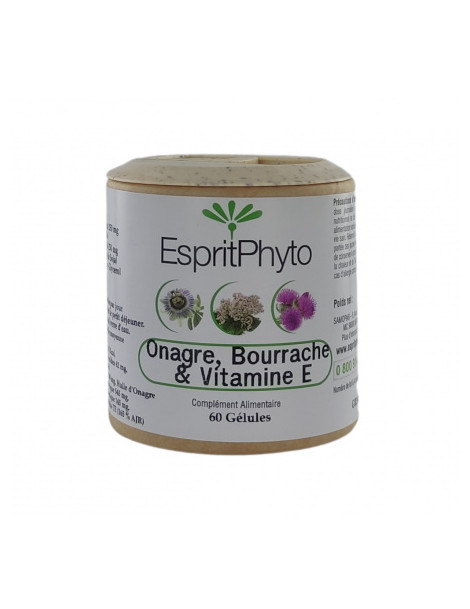 Onagre, Bourrache, Vitamine E 60 capsules EspritPhyto