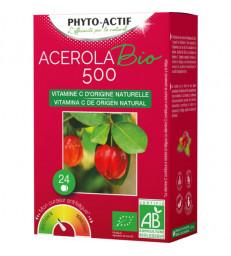 Acerola BIO 500 2 tubes de 12 comprimés x24 Phyto-Actif