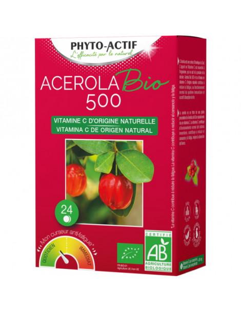 Acerola BIO 500 2 tubes de 12 comprimés x24 Phyto-Actif Herboristerie de Paris