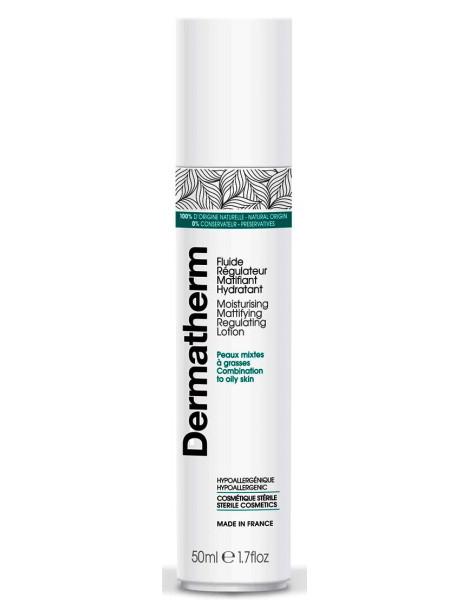 Fluide régulateur matifiant hydratant 50 ml Dermatherm mélisse zinc squalane tapioca Herboristerie de paris