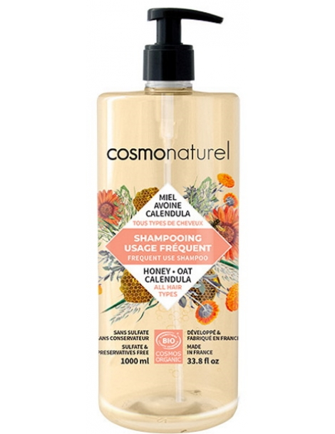 Shampoing usage fréquent Miel Calendula Avoine 1L Cosmo Naturel