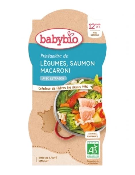 Bol Menu du jour Printanière de Légumes Saumon Macaronis dès 12 mois 2x200gr Babybio Herboristerie de Paris