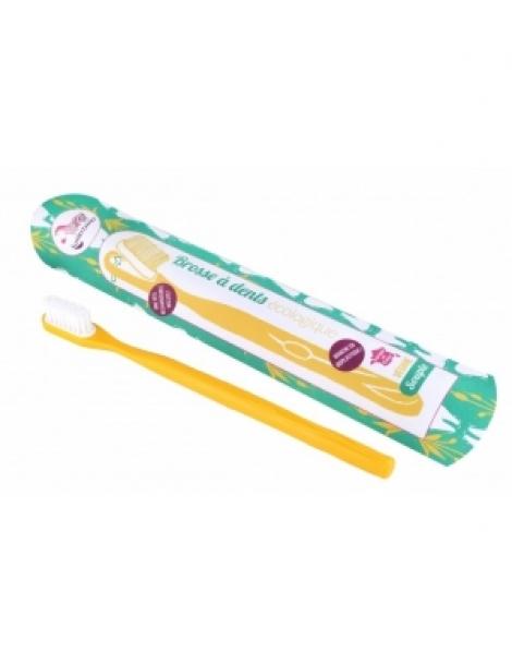 Brosse à dents écologique rechargeable Jaune Medium 17gr Lamazuna Herboristerie de Paris