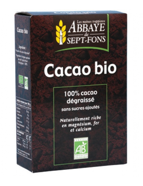 Cacao bio Pur 100 pc cacao non sucré  200g Abbaye de Sept-fons Herboristerie de Paris