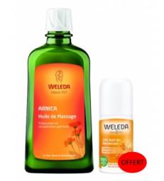 Duo huile massage Arnica 200ml + Déodorant Argousier offert Weleda