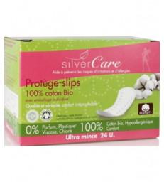 Protèges slips 100% coton bio, Anatomiques Emballage individuel, boîte de 24 Silvercare