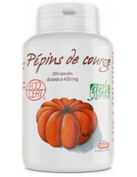 Huile de Pépins de Courge bio 420mg 200 capsules GPH Diffusion