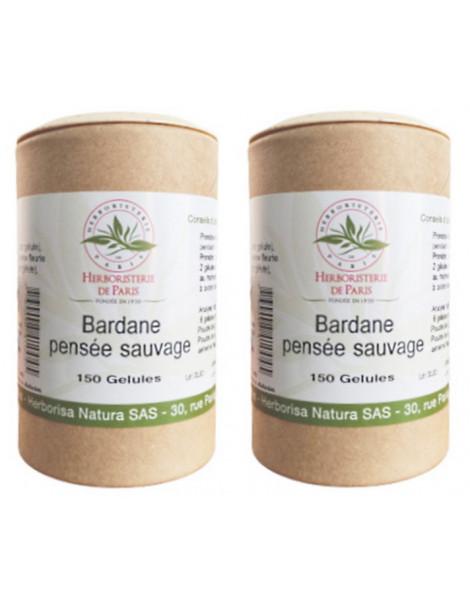 Bardane Pensée Sauvage lot de 2 boites 2 x 150 gélules  Herboristerie de Paris beauté netteté cutanée