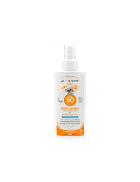 Spray solaire sans parfum pour bébé très haute protection SPF50 125g Alphanova