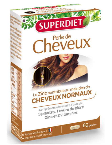 Perle de cheveux 60 gélules  Super Diet nourrit le cheveu Herboristerie de paris