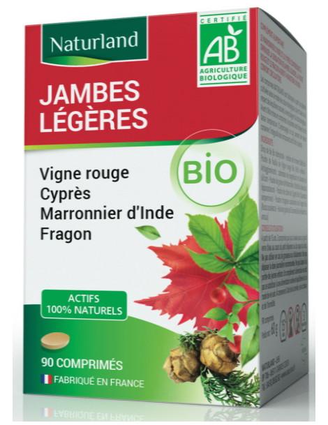Vigne rouge Marronnier Cyprés Fragon Bio 90 COMPRIMES Naturland Jambes légères Herboristerie de paris