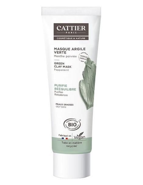 Masque argile verte Menthe peau grasse en tube 100ml Cattier purifie la peau Herboristerie de paris