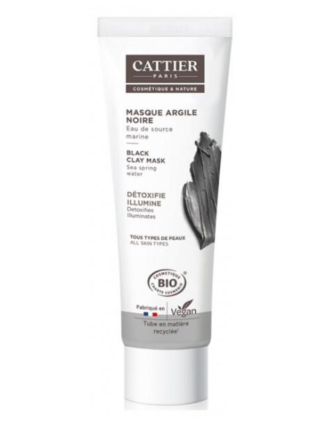 Masque à l'argile noir detoxifie purifie 100 ml Cattier peau grasse ou sèche teint retrouvé Herboristerie de paris