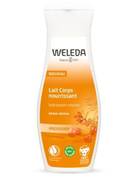 Lait Corps nourrissant Argousier peaux sèches 200ml Weleda hydratation Herboristerie de paris
