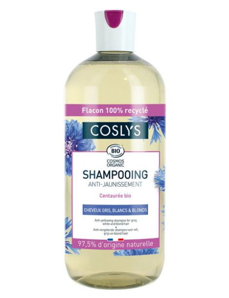 Shampooing anti jaunissement cheveux gris blancs et blonds Coslys extrait de centaurée Herboristerie de paris