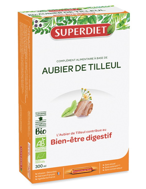Aubier de Tilleul Bio 20 Ampoules Super Diet draineur dépuratif Herboristerie de paris