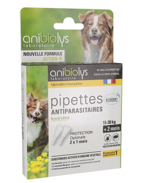 2 Pipettes antiparasitaires grand chien 4ml Anibiolys Herboristerie de Paris