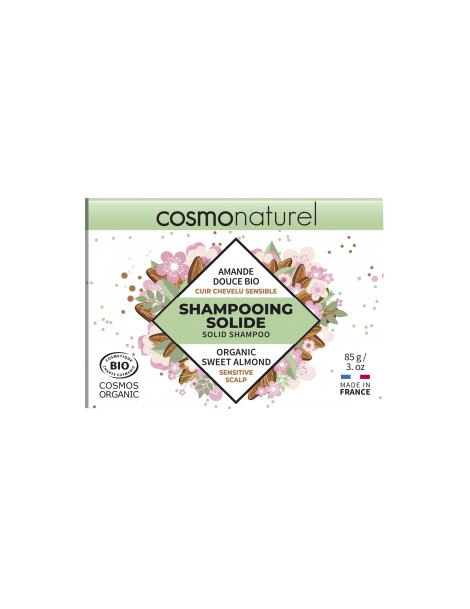 Shampoing solide cuir chevelu sensible Amande douce bio 85g Cosmo Naturel