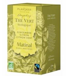 Thé vert le matinal : Gingembre bio Citron bio Citron vert bio 20 sachets 36g Plant Asia