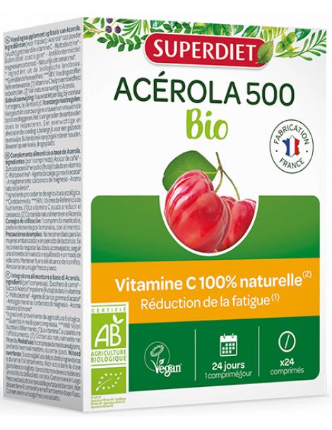 Acérola Bio 500 Vitamine C 24 comprimés Super Diet