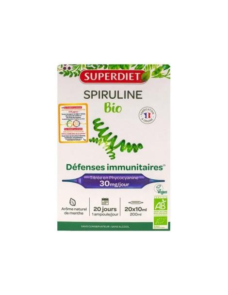 Spiruline Bio 20 ampoules de 10ml Super Diet